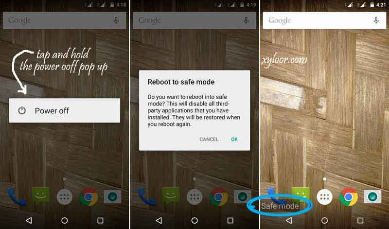 Android phones Safe Mode