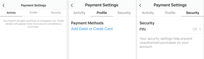 Instagram payments settings