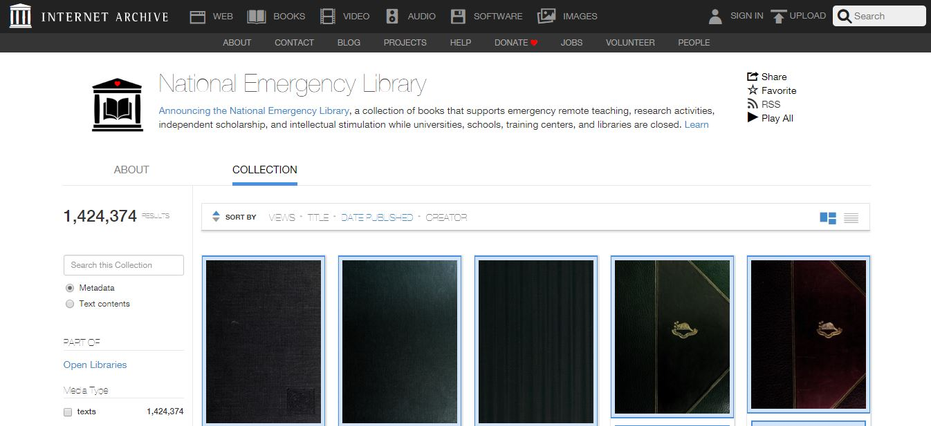 National Emergency Library Launched By The Internet Archive